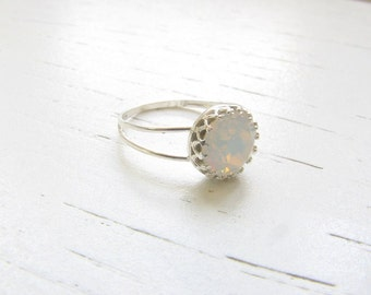 Valentines Day SALE - White opal ring - Opal ring - Silver Opal ring - Gift for her - Promise ring