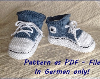 anleitung gestrickte baby chucks gestrickte babyschuhe. Black Bedroom Furniture Sets. Home Design Ideas