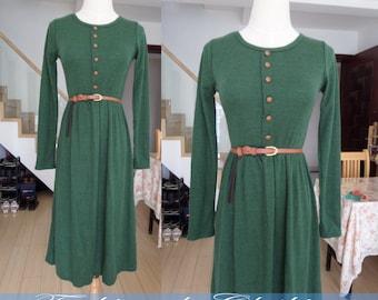 green dress cotton dress long dress autumn winter dress women clothing long sleeve dress slim fit dress