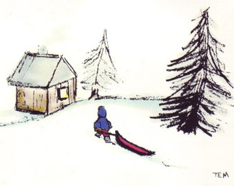 Boy and Sled | Individual Blank Card or Pack of 8 with Envelopes