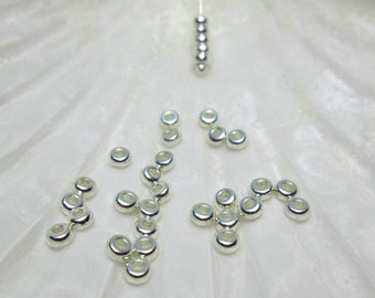 Round Disc Spacer Beads 3mm Tierracast Bright Silver