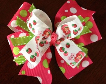 Handmade Hair Bow Strawberry Shortcake Pinwheel