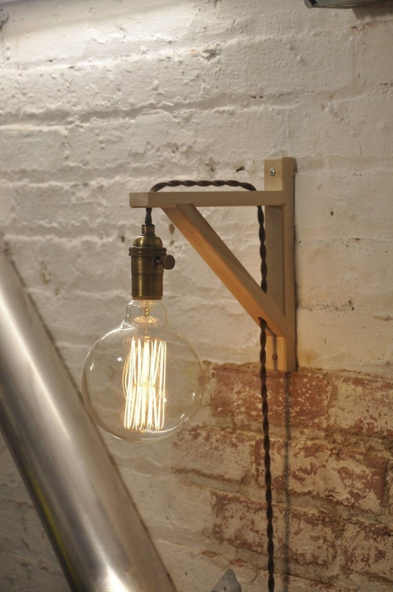 Wall Sconce Antique Brass Birch Wood Light Lamp Industrial