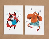 Postcard Pack - Musical set of 2 cards with animals, with a fox playing violin and a dancing bear. In brown, blue, red, black, white, yellow