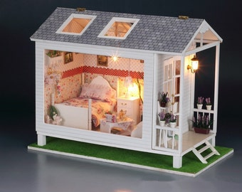 NEW Miniature Craft Project DIY Kit Wooden Display Dollhouse Home Model With W Lights Gift
