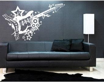 Rock 'n' Roll Guitar music wall decal, sticker, mural, vinyl wall art