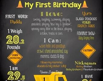 Construction Birthday Sign