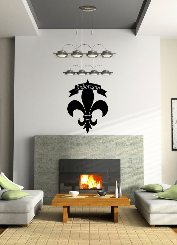 Personalized Monogram Family Name Fleur De Lis Wall