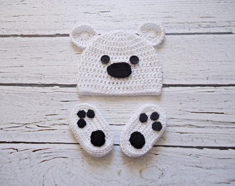Baby Hat, Crochet Baby Hat, Crochet Beanie Hat with Ears and boots , White Teddy Bear Hat and boots,  MADE TO ORDER