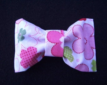White and Pink Flower Hair Bow