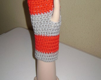 Red & Gray Fingerless Gloves
