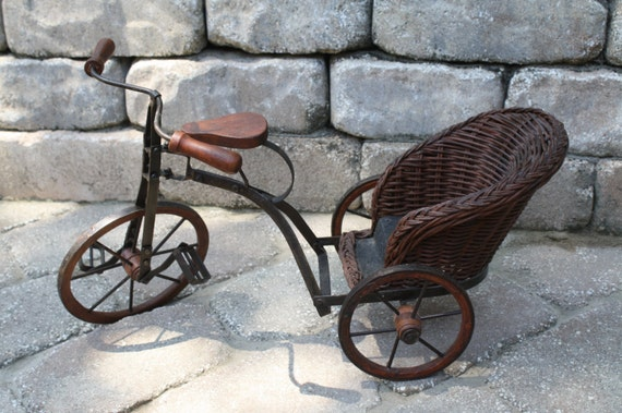 Vinatage Doll Tricycle With Wicker Carriage Vintage Doll
