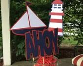 6 Nautical Centerpiece Sticks - Nautical Table decoration - Nautical Baby shower decoration - Nautical 1st birthday decoration - laser cut