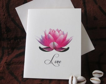Egyptian Lotus Flower Love NoteCard. 4 1/4 X 5 1/2 Blank inside for your special words for the one you love.
