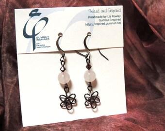 Wired & Inspired earrings - 1729 - Rose quartz stars II