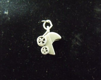 Sterling Silver Baby Carriage 3-D Charm  - .925  2.2 grams