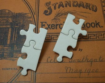 """Puzzling Post Earrings - Made from a Puzzle of M.C. Escher's """"House of Stairs""""  - Double Puzzle version"""
