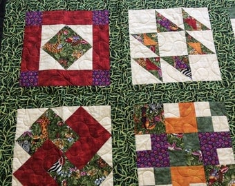 JUNGLE Twin Size Sampler Quilt