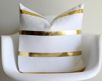 Gold Stripe 20x20 Throw Pillow Cover