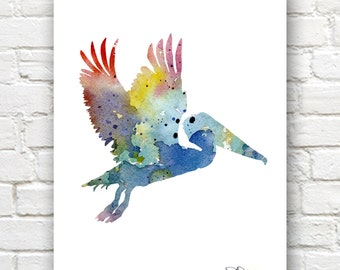 Pelican Art Print - Abstract Watercolor Painting - Animal Art - Wall Decor