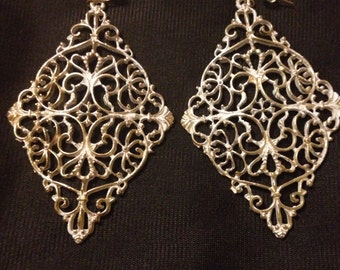 Gold white washed Filagree earrings