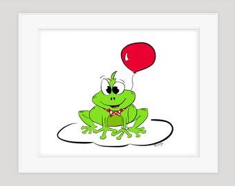 Nursery Art, Frog with Balloon, Children's Wall Art, 8x10 Print