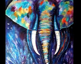 Colourful elephant, acrylic/mixed media on canvas/stretcher B 100 cm H 140 cm D 4 cm