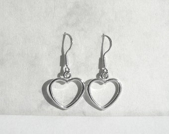 Open Heart Earrings, Heart Sterling Silver,  Rhodium Plated Heart Jewelry, Dangle Heart Earring, Birthday Gift im Atigga Shop