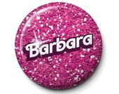 "Pink Glitter party-set of 10 personalized button badges-1"" diameter - Pin or Adhesive back"