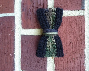 Camouflage and Black Crochet Bowtie