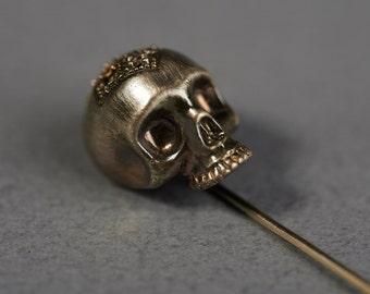 Brass Oxidized Skull Boutonniere