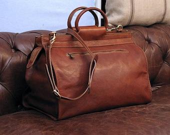 """Leather Gladstone Bag 19"""" / Floto 4563B / Travel Bag / Leather Duffle Bag / Weekender Bag  / Overnight Bag / Leather Bag / Doctor Bag"""