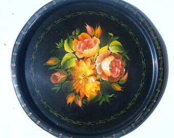 Hand painted vintage black metal tray spring blossom flowers