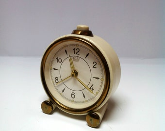 Vintage UMF RUHLA cream gold mechanical alarm clock Made In Germany 1970