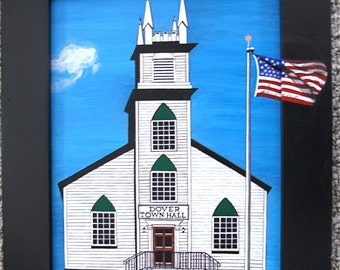 Original Painting; Dover Vermont TOWN HALL; Acrylics on board approx.14 x 17inc. frame