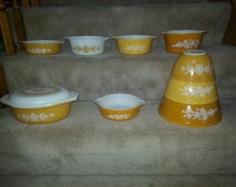 Vintage Butterfly Gold Pyrex LOT Set of 10 Pieces