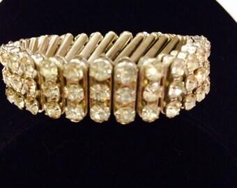 Vintage Rhinestone Strech Accordian Bracelet Costume Jewelry
