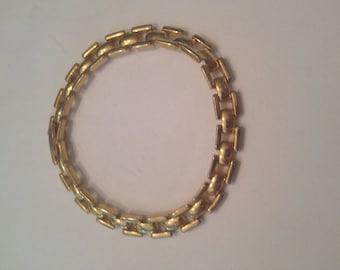 Vintage Gold Geometric Bracelet 1980s Costume Jewelry