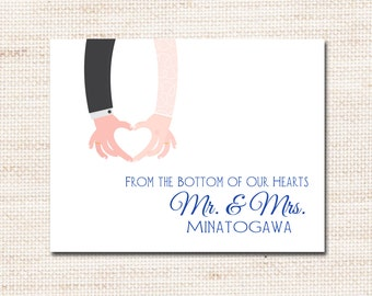 Wedding, Couple, Bridal Thank you cards, PRINTABLE DIGITAL FILE