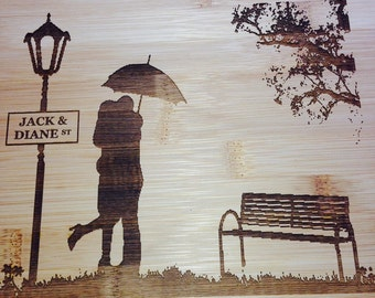 Custom Bamboo Cutting Board - Cute Couple - Wedding, Birthday, House Warming, I Love You Special Gift