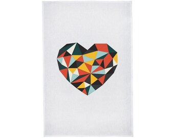 Love Heart Crystal Colours Linen Tea Towel