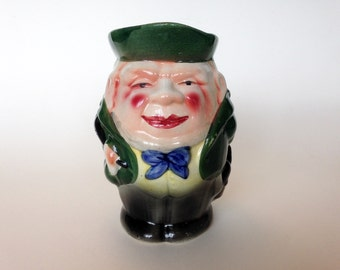 SALE! Old Toby Jug, Green, Blue, Rosy Cheeks, Rare