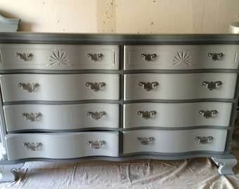 Grey Dresser, Credenza, Buffet, Changing Table 9 drawer Dresser, Nightstands, Changing Table, Buffet, Credenza, bedroom furniture