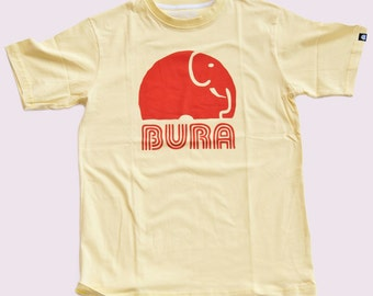 SALE ITEM! Mens T-Shirt by BURA Clothing. Ellie Logo. Yellow. 100% Cotton.