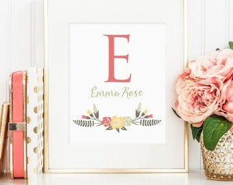 Personalized Printable wall art decor: first name initial, first and middle names, unique baby shower gift (Custom digital download - JPG)