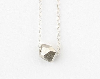 Faceted Silver Stone Necklace with Sterling Silver Chain