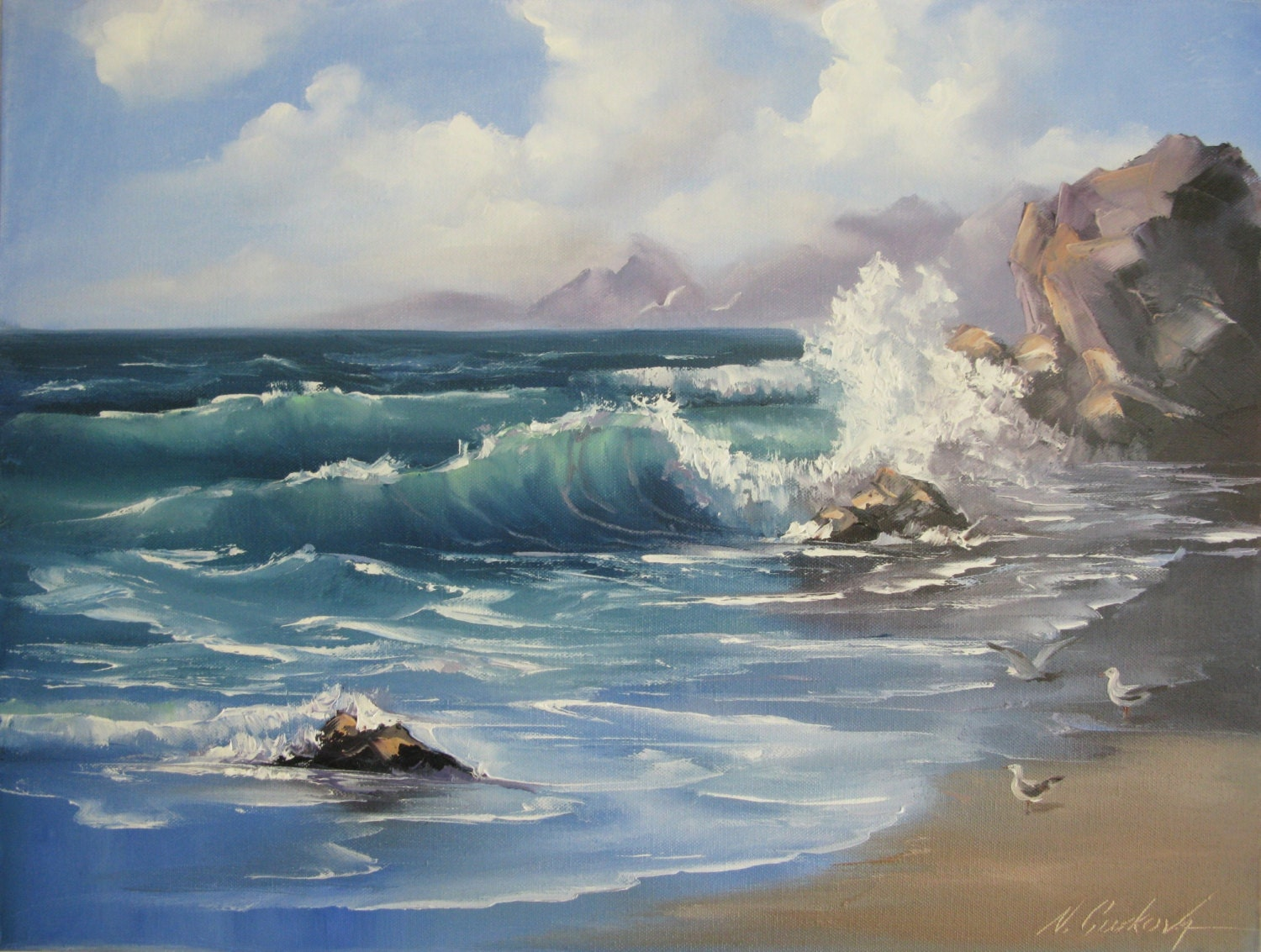How High To Hang Paintings Seascape Painting Ocean Waves Oroginal Oil Pinting 1824