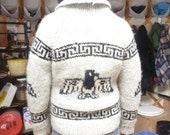 Vintg CHEAP M/L Cowichan Sweater with eagle, needs some love