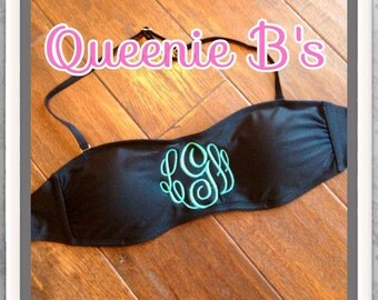 Black Monogram Bandeau Swimsuit Top - 12 Colors To Choose From!
