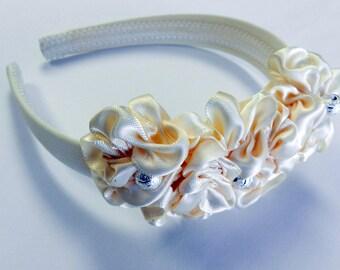 Flower girl Ivory satin flowers headband /flower girl headpiece